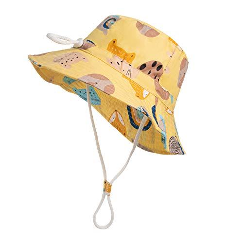 LHWY Unisex Baby Kleinkinder Mütze Sonnenhut Kappe Fischerhut Strandhut Kinder Sommerhut UV Schutz (Gelb, L)