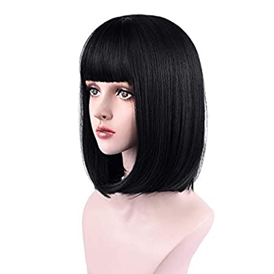 REECHO Wig with bangs Synthetic Hair for White Black Women Cosplay
