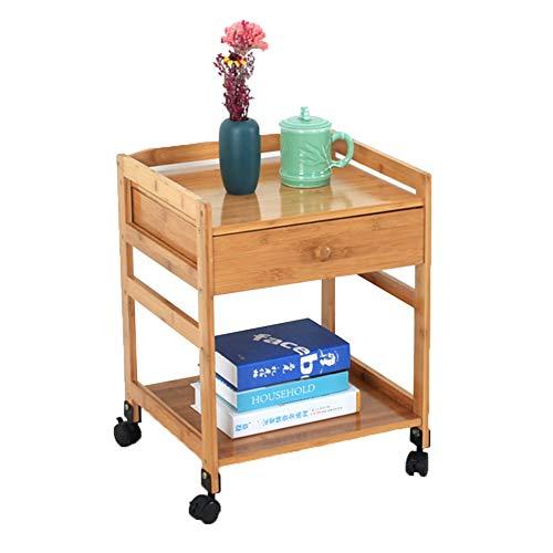 ZHAOYONGLI Table D'appoint Basse Tables Basses Café Informatique Table Casiers avec Tiroir en Bois Pouvant Accueillir Le Meuble (Couleur : Double Drawer, Taille : 42 * 38 * 55cm)