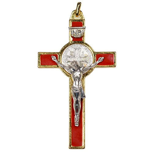 Benediktus Kreuz - Benediktuskreuz rot und gold, Metall 8cm