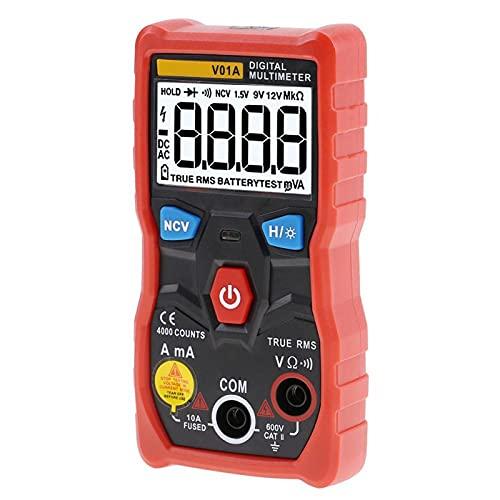 Multímetro digital CA/CC de tensión ohmios, multímetro digital V01A, pantalla LCD con alcance automático y retroiluminación para linterna industrial, color rojo