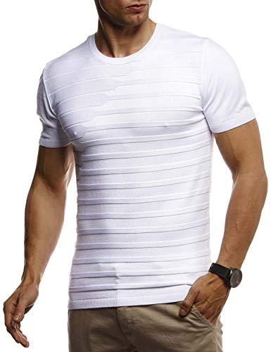 Leif Nelson Herren Sommer T-Shirt Rundhals Ausschnitt Slim Fit aus Feinstrick Cooles Basic Männer T-Shirt Crew Neck Jungen Kurzarmshirt O-Neck Sweater Shirt Kurzarm Lang LN7300 Weiß X-Large