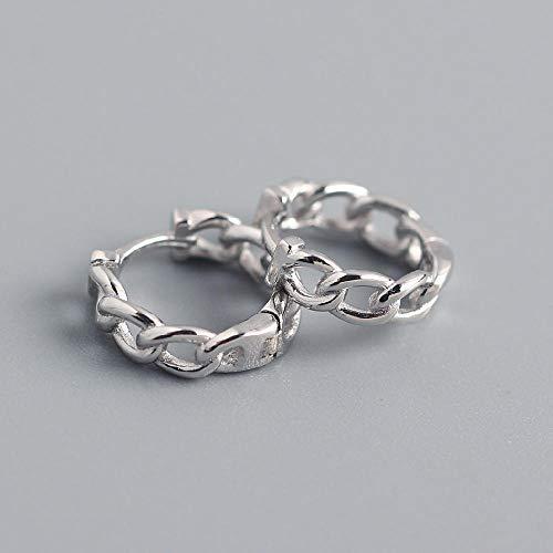 Ohrstecker Ohrring Damen Klassische Kette Stil Gold Creolen Einfache Kreis Ohrringe Damen Schmuck 925 Sterling Silber Ohrringe-Silber