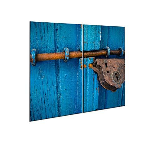 CTC-Trade  Herdabdeckplatten Set 2x30x52 cm Ceranfeld Abdeckung Glas Spritzschutz Abdeckplatte Glasplatte Herd Ceranfeldabdeckung Blau Vorhängeschloss