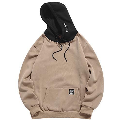 ZAFUL Sudadera con capucha para hombre, contraste con cordón, parche con detalle de solapa, bolsillo de forro polar,...
