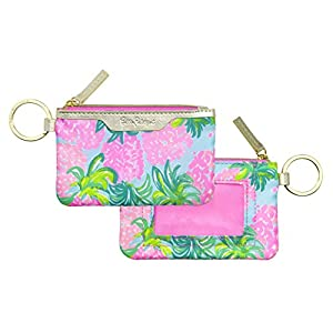 Lilly Pulitzer ID Case Keychain Wallet with Zip Close, Cute Durable Card Holder for Women Teen Girls