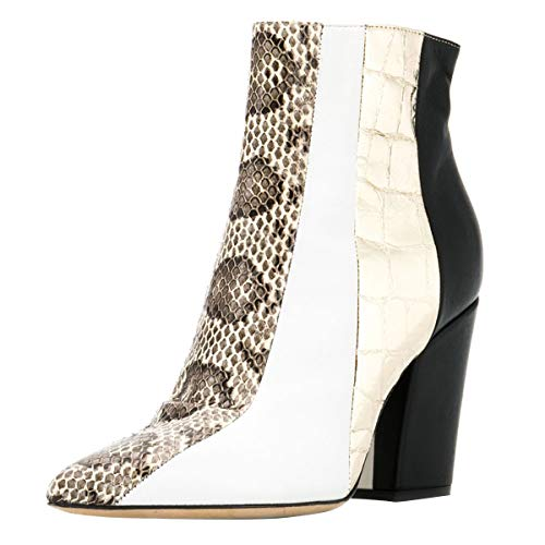 FSJ Women Almond Toe Zipper Chunky Block Heel Handmade Ankle Booties Elegant Dress Boots Size 8.5 White Animal Print