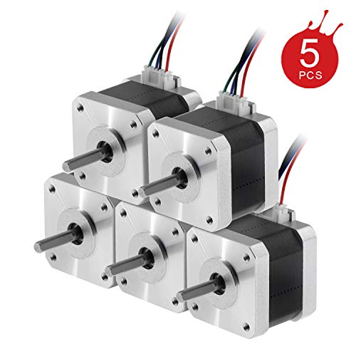 Usongshine Nema 17 Stepper Motor 42 Motor 1.5A (17HS4401) High Torque 42N.cm (60oz.in) 42BYGH 1.8 Degree 38MM 4-Lead with 1m Cable and Connector for DIY CNC 3D Printer (Pack of 5)