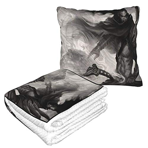 AEMAPE Manta de Almohada de Coche Yasuo, Manta de sofá, Manta de Almohada de Viaje, cálida y Gruesa, Almohada de Cuello de Felpa de avión para dormir-1H