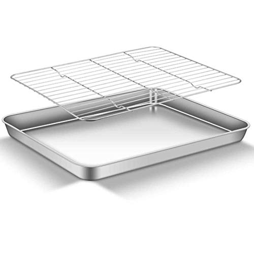 BB&ONE Bakplaat met Rack Set,Geruit Chef Bakplaat en Rack Set,RVS Bakpannen lade Cookie Sheet met Koeling Rack, Niet-giftig, Gezond, Spiegel Gepolijst en Gemakkelijk te reinigen