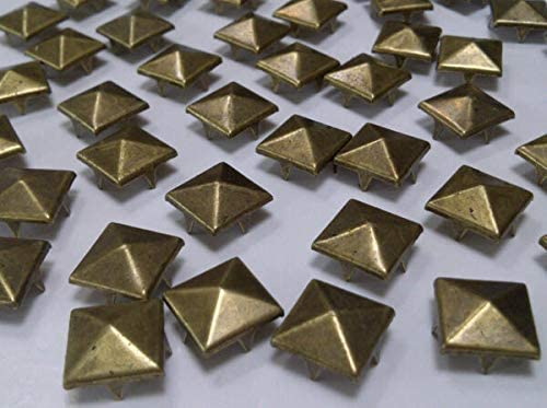 100 pcs 12mm Brass Pyramid Square Studs Goth Leather craft Denim- by Boong Store