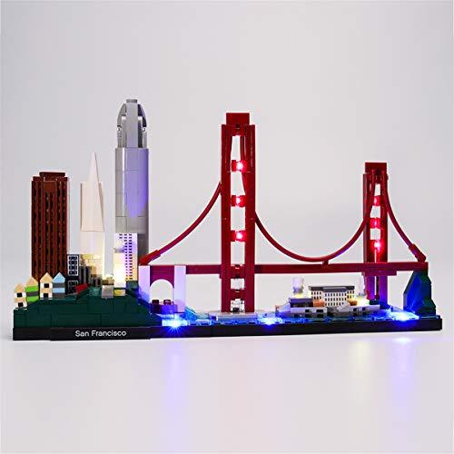 Kit De IluminacióN (Architecture San Francisco) Modelo De ConstruccióN De Bloques, Compatible Con El Modelo De Bloques De ConstruccióN Lego 21043(Juego De Legos No Incluido)