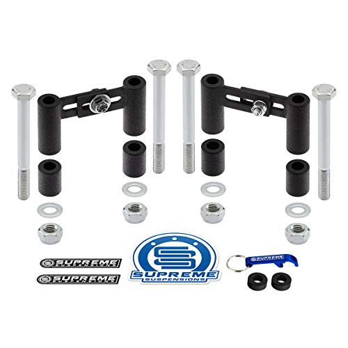 Supreme Suspensions - 2' or 3' Height and 2.5' to 3.5' Width Adjustable Front Bar-Pin Shock Mount Extender Kit for 1995-2003 Ford Explorer with Bar-Pin/Tie-Bar Mounted Shocks 4x2