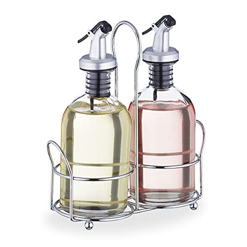 Relaxdays Oliera e Acetiera, Set da 2 Bottiglie in Vetro con Dosatore, 240 ml, con Supporto, Olio e Aceto, Trasparenti, Ferro, ABS, 1 pz