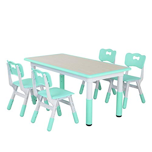 LAZY BUDDY Kids Study Table and Chairs Set, Height Adjustable Plastic Children Art Desk with 4 Seats, Activity Toddler Furniture Gift for Boys & Girls(Paintable Desktop) (47
