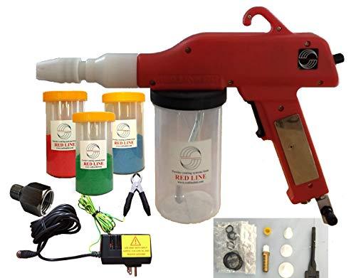 Powder Coating Gun System by Redline Model EZ50 with Bonus Powder Cup Kit, Next Generation U.S. Power Supply and U.S. Airline Adapter