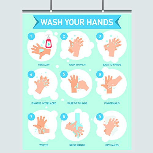 Wash Your Hands – Step by Step Guide – 16 x 20 – LAMINATED – Hand Washing – Germs – Cold Flu Print – Bathroom Decor – Wall Art – Hygiene Poster – Health Class – Coronavirus – Public Restroom – Schools