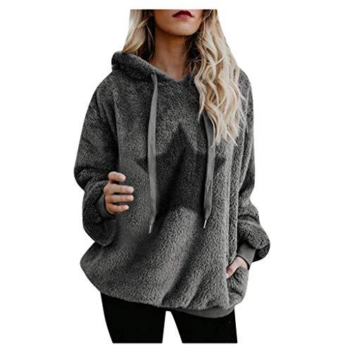 vermers Womens Warm Fluffy Winter Coat Hoodie Tops Christmas Hooded Sweatshirt Pullover Jumper Star Printed Sweater(XL, z-zz Star Gray)