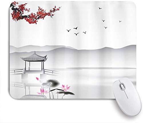 SIONOLY Mauspad - Garten im japanischen asiatischen Stil mit Vogel und kleinem Pavillon über der Lotus-Seerose des Sees - Gaming und Office rutschfeste Gummibasis Mauspads,240×200×3mm