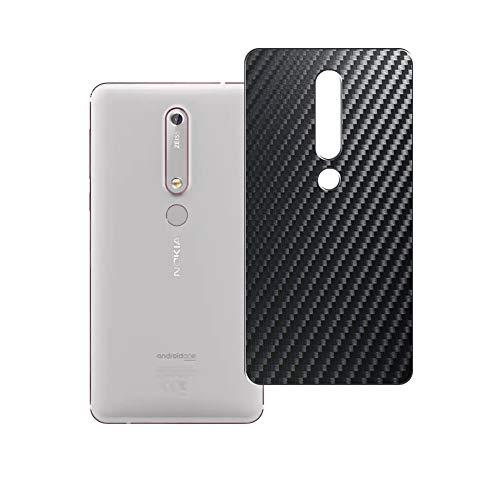 Vaxson 2 Unidades Protector de pantalla Posterior, compatible con Nokia 6 II 2018 NOKIA 6.1, Película Protectora Espalda Skin Cover - Fibra de Carbono Negro