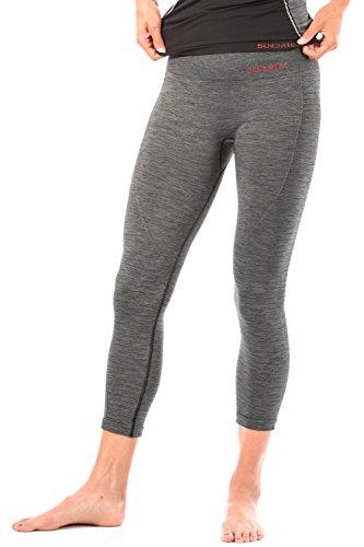 Sundried Leggings recortada Capri de las mujeres para entrenamiento de gimnasia yoga fitness Deportes de talle alto acanalado polainas (Large, Grey)