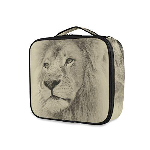 Trousse de toilette Lupinz - Motif visage de lion - Avec poignée supérieure - Organiseur multifonction - Pour filles