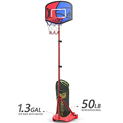 HAHAKEE Basketball Hoop for Kids,Height-Adjustable and More Stable Basketball Stand,Indoor and Outdoor for Boys and Girls,Easy Assemble