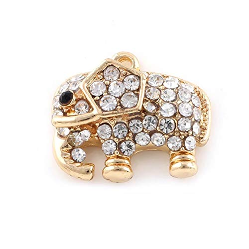 2 PCS Charm Alloy Diamond Elephant Shape Pendant for Cell Phone Decoration/Necklace Making,Gold Practical Electronics Accessories