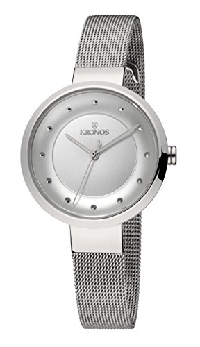 KRONOS - Ladies White 997.8.102 - Reloj de señora de Cuarzo, Brazalete de Acero, Color Esfera: Plateada