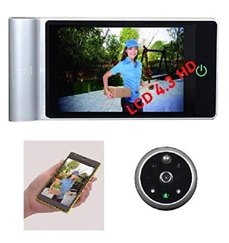 Mirilla Digital WIFI HD 4,3' Deteccion movimiento, Vision nocturna mejorada, Grabacion video, APP movil, Tarjeta MicroSD 32gb, Bateria recargable en color PLATA