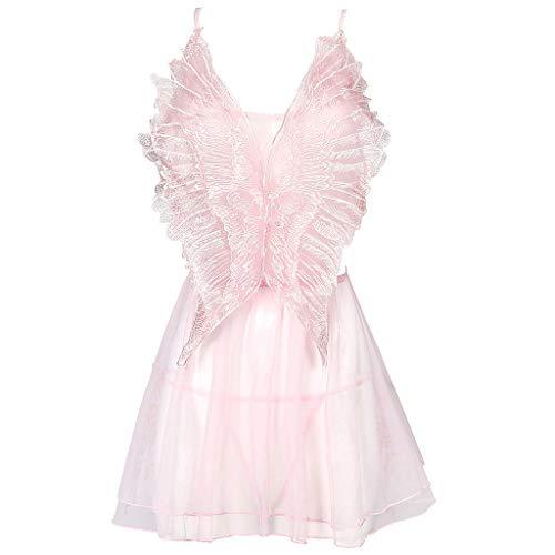 Sllowwa Negligee Damen Nachtwäsche Nachtkleid Großer Schmetterlingsschlafrock Nachthemd Spitze Lingerie Dessous Reizwäsche Set Sleepwear Kleid(Rosa,**Erwachsene**)