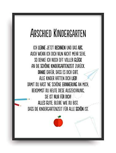 Geschenk Karte ABSCHIED KINDERGARTEN Kunstdruck Kita Verabschiedung Kind Erzieherin Bild ohne Rahmen DIN A4