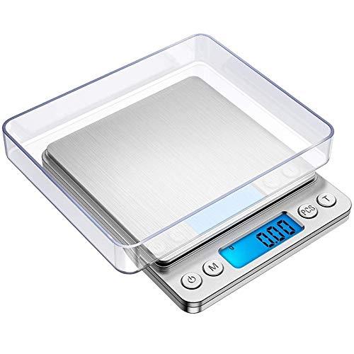 tubc Digitalwaage Küchenbacken Elektronische Waage 1 kg / 2 kg / 3 kg / 0,5 kg / 0,01 g LED Digitalwaage Tragbare hochpräzise Lebensmittelmesswaage 2 kg