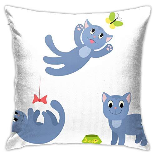 Happy Cat Anime - Funda de almohada cuadrada de poliéster suave para sala de estar, sofá, cama, decoración de sala de juguetes o coche, 45,7 x 45,7 cm