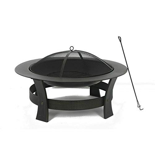 IMS 1 Set of Fire Pit Wood-Burning 35-in Round Black Steel Spark Screen Cover Outdoor Heating