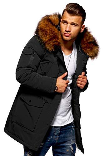 behype. Herren Winter-Parka Winter-Jacke mit Kunstfell & Kapuze 55-5700 Schwarz M