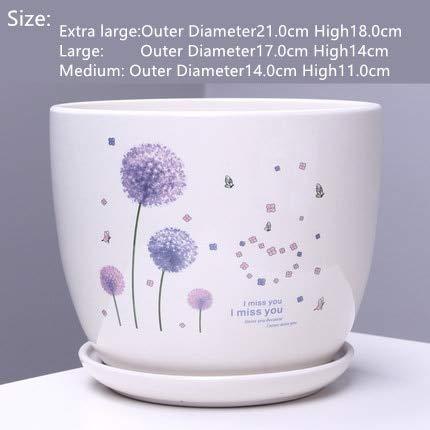 HONIC Vaso per Fiori in Ceramica con Vassoio all'Ingrosso Grande Vaso per Bonsai Creativo Vaso Piante grasse Interno Balcone Verde: 13 Stile, Extra Large