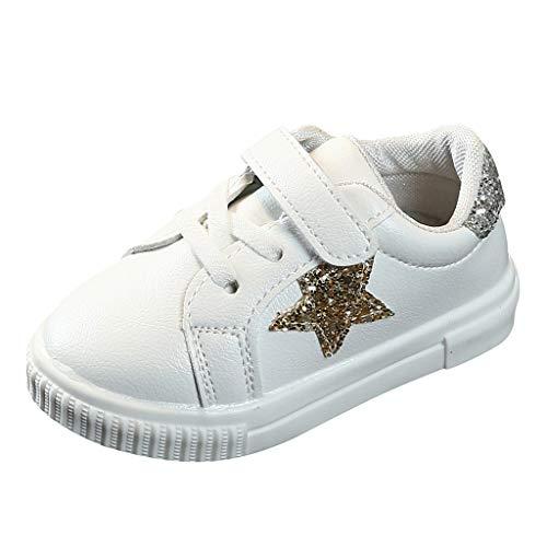 Kleinkind Kinder Schuhe Sportschuhe Ultraleicht Atmungsaktiv Turnschuhe Klettverschluss Low-Top Sneakers Laufen Schuhe Laufschuhe für Mädchen Jungen Sterne Mesh Heligen (24 EU, Gold)