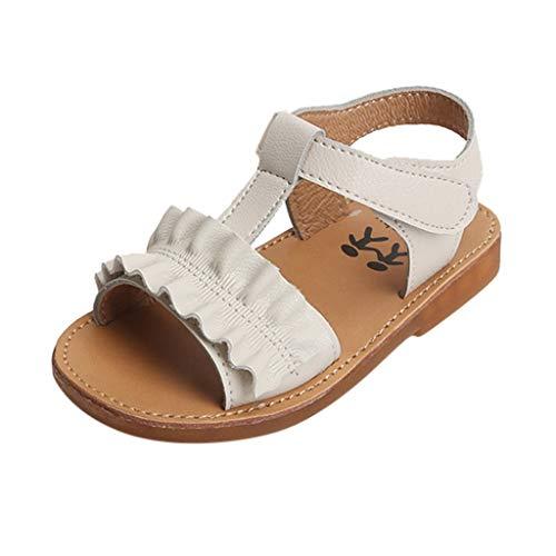 Julhold Sandalias de playa elásticas antideslizantes para niñas y bebés, con velcro para niños pequeños, zapatos suaves al aire libre, color Blanco, talla 30 EU