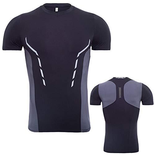 FLHLH T-Shirt à Manches Courtes avec Couche de Compression,T-Shirt Respirant, à séchage Rapide et Moulant, entraînement de Gymnastique, Tenue de Sport avec col en V, B_XL