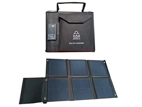 MEGASOLAR 60W Solar Charger Solar Panel with Solar Charge Controller Dual QC3.0 USB 5v - 12v and DC 12v 15v 20v Output, Portable Solar Charger Shoulder Bag for Charging Laptop Solar Generator Phone