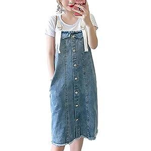 Women's  Adjustable Strap Denim Jean Overall Pinafore Dress Skirt