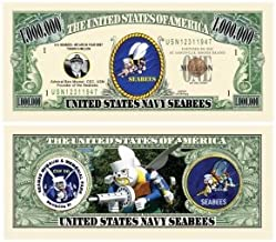 American Art Classics Seabee Million Dollar Bill in Currency Holder - Fun Gift Or Keepsake for Members of The US Navy Construction Battalion