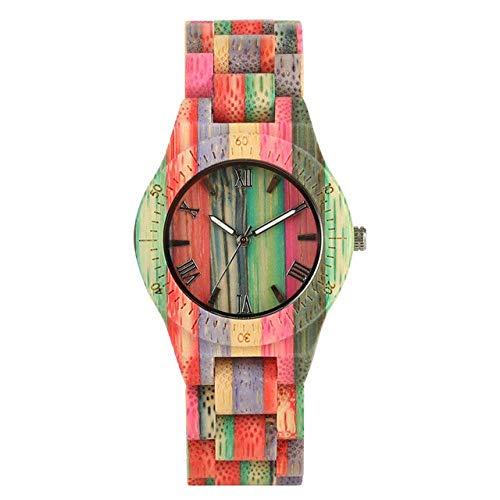 DZNOY Reloj de madera para mujer, cuarzo y bambú, reloj de madera para mujer, reloj de pulsera natural hecho a mano, reloj de pulsera analógico (color: colorido 2)