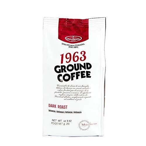 Universal Caffè - Caffè Macinato per Caffè Americano/Filtro Ground Coffee 1963 In sacchetto con valvola Salvaroma (Caffè Dark Roast, 250 Gr.)
