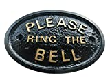 Home Works PLEASE RING THE BELL FRONT DOOR WALL PLAQUE IN BLACK