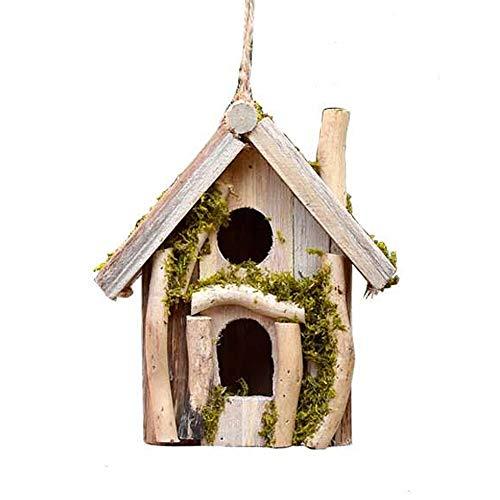 Abrahmliy Vogelhaus Hölzernes hängendes Vogelhaus for den Garten einzigartige Neuheit Vogel Nistkasten Garten-Dekorationen Bird Hotel Cabin for Wild Birds Hauptdekorationen