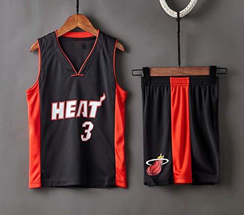 Jerseys De Baloncesto De Los Hombres, NBA Miami Heat # 3 Dwyane Tyrone Wade - Niño Adulto Classic Confort Vestidos Sin Mangas Transpirables Tops Camiseta Uniformes Conjunto,Negro,2XS(Child) 95~105CM