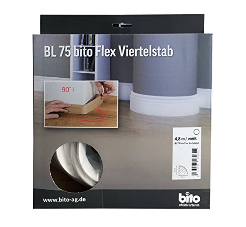 Flexible Sockelleiste, biegbare Fußbodenleiste, Viertelstab Profil, 15x15mm, 4,8 Meter, Farbe weiß