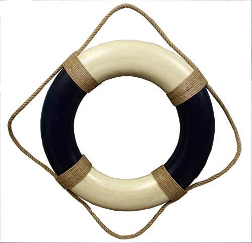 Deko Rettungsring 50 cm blau/beige im Antik-Look